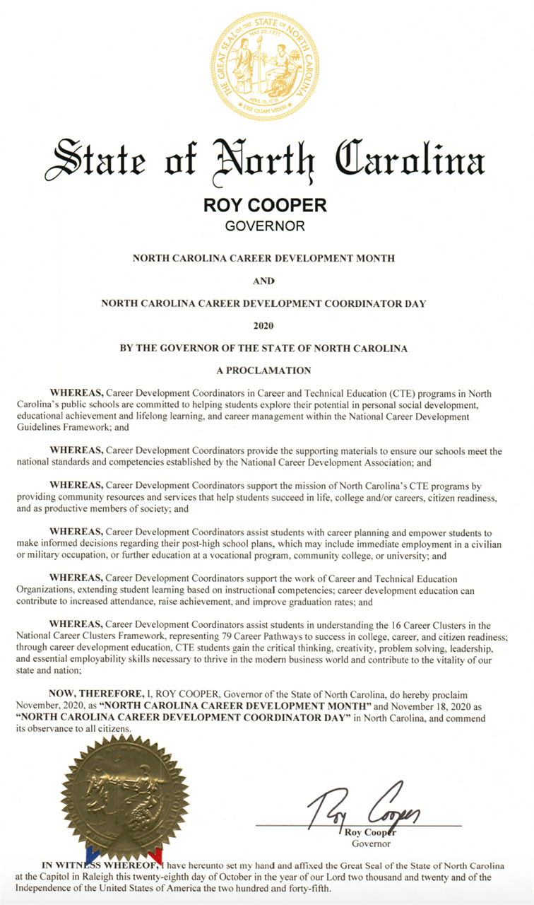 Declaration from Gov. Roy Cooper for North Carolina Career Development Month and Coordinator Day